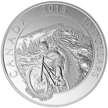 2015 $10 FINE SILVER COIN ADVENTURE CANADA: MOUNTAIN BIKING