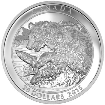 2015 $20 FINE SILVER COIN GRIZZLY BEAR: THE CATCH