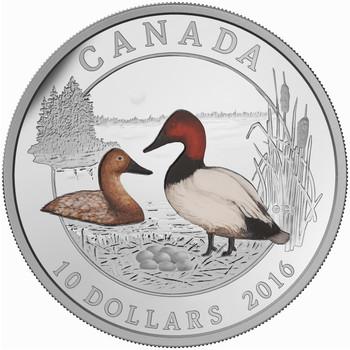 2016 $10 FINE SILVER COIN CANVASBACK