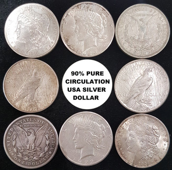 UNITED STATES COMMON DATE SILVER DOLLAR $1 FACE VALUE CIRCULATION 90% PURE SILVER COIN
