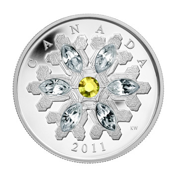 2011 FINE SILVER $20 COIN - CRYSTAL SNOWFLAKE - TOPAZ