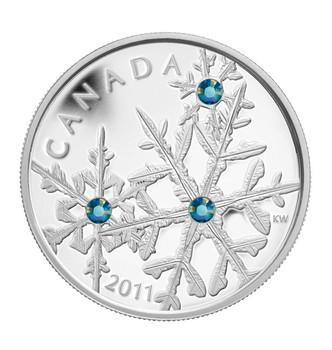 2011 FINE SILVER $20 COIN - SMALL CRYSTAL SNOWFLAKE - MONTANA