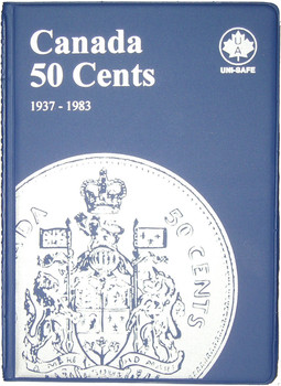 CANADA 50 CENTS - HALF DOLLARS - 1937-1983 - BLUE COIN FOLDERS - UNI-SAFE
