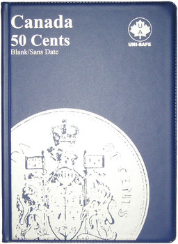 CANADA 50 CENTS - HALF DOLLARS - BLANK - BLUE COIN FOLDERS - UNI-SAFE