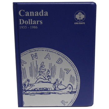CANADA 1 DOLLARS - SILVER DOLLARS - 1935-1986 - BLUE COIN FOLDERS - UNI-SAFE