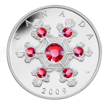 2009 $20 FINE SILVER COIN - PINK CRYSTAL SNOWFLAKE