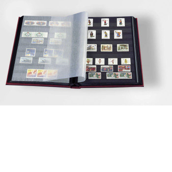 STAMP STOCKBOOK ALBUM - 32 BLACK PAGES (64 SIDES) - DOUBLE GLASSINE INTERLEAF - RED