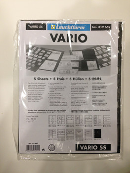 VARIO BLACK STAMP STOCKPAGES - FIVE SHEETS - FIVE STRIPS