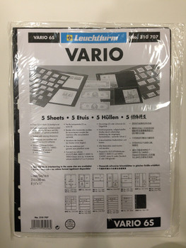 VARIO BLACK STAMP STOCKPAGES - FIVE SHEETS - SIX STRIPS