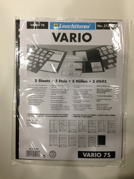 VARIO BLACK STAMP STOCKPAGES - FIVE SHEETS - SEVEN STRIPS