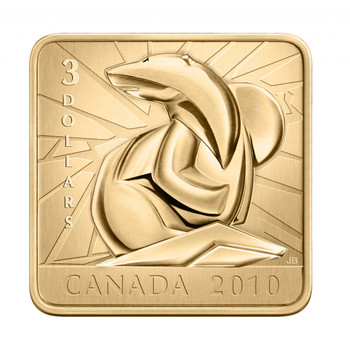 2010 $3 SQUARE SHAPED GOLD PLATED SILVER COIN - POLAR BEAR WILDLIFE CONSERVATION