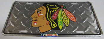 CHICAGO BLACKHAWKS NHL DIAMOND CUT LOOK METAL LICENCE PLATE