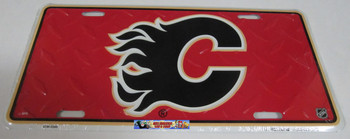 CALGARY FLAMES NHL DIAMOND CUT LOOK METAL LICENCE PLATE