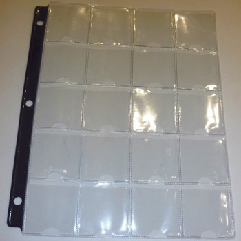 20-POCKET PAGES - BLUE STRIP - FOR 2X2 HOLDERS