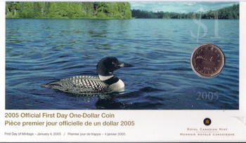 2005 FIRST DAY COVER COIN - THE LOONIE