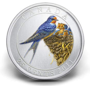 2011 25-CENT COLOURZED COIN - BARN SWALLOW