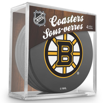 BOSTON BRUINS NHL HOCKEY PUCK COASTERS - 4-PACK