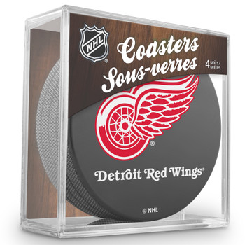 DETROIT RED WINGS NHL HOCKEY PUCK COASTERS - 4-PACK