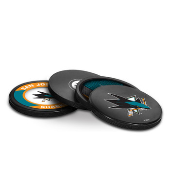 SAN JOSE SHARKS NHL HOCKEY PUCK COASTERS - 4-PACK
