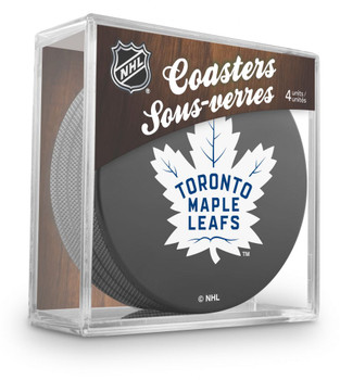 TORONTO MAPLE LEAFS NHL HOCKEY PUCK COASTERS - 4-PACK