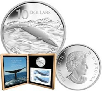 2010 $10 STERLING SILVER - BLUE WHALE COIN AND STAMP SET (LAST IN SERIES)