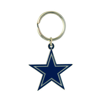 DALLAS COWBOYS - NFL FOOTBALL - DIECUT METAL ENAMEL PAINT LOGO KEYCHAIN