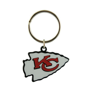 KANSAS CITY CHIEFS - NFL FOOTBALL - DIECUT METAL ENAMEL PAINT LOGO KEYCHAIN