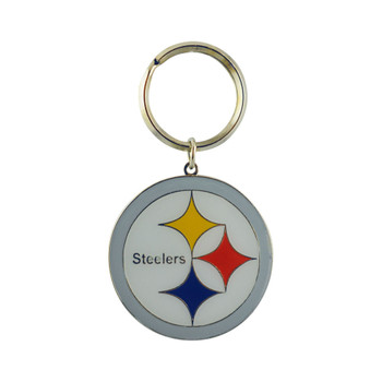 PITTSBURGH STEELERS - NFL FOOTBALL - DIECUT METAL ENAMEL PAINT LOGO KEYCHAIN