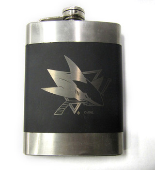 SAN JOSE SHARKS NHL LASER ENGRAVED STAINLESS STEEL FLASK