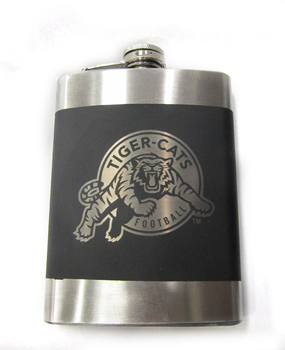 HAMILTON TIGER CATS CFL LASER ENGRAVED STAINLESS STEEL FLASK