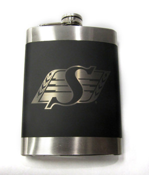 SASKATCHEWAN ROUGHRIDERS CFL LASER ENGRAVED STAINLESS STEEL FLASK