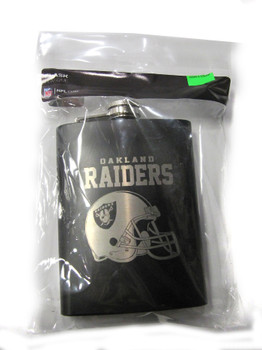 OAKLAND RAIDERS NFL LASER ENGRAVED STAINLESS STEEL FLASK