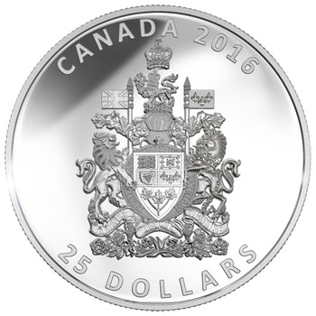 2016 $25 FINE SILVER PIEDFORT THE COAT OF ARMS OF CANADA