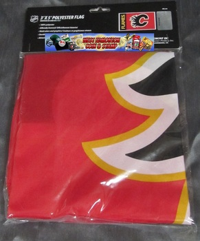 CALGARY FLAMES POLYESTER FLAG  - 3 X 5 FEET - INDOOR/OUTDOOR - BRAND NEW