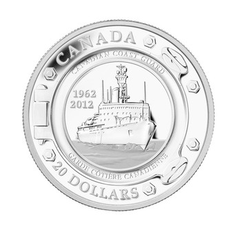 2012 $20 FINE SILVER COIN - 50 YEARS OF THE CANADIAN COAST GUARD