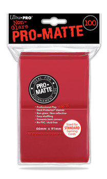 DECK PROTECTOR - STANDARD - 100 SLEEVES - PRO MATTE RED