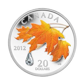 2012 $20 FINE SILVER COIN - MAPLE LEAF CRYSTAL RAINDROP
