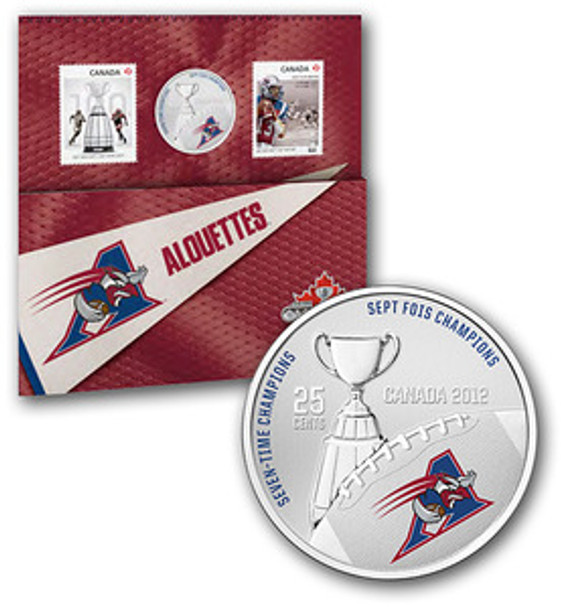 2012 THE MONTREAL ALOUETTES - 25-CENT COLOURED COIN AND STAMP SET