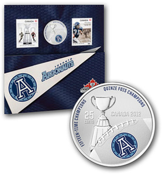 2012 THE TORONTO ARGONAUTS - 25-CENT COLOURED COIN AND STAMP SET