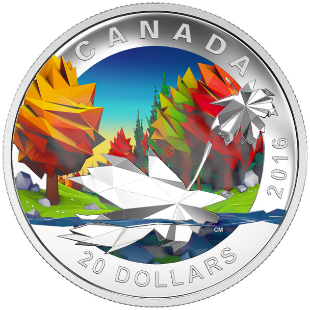 2016 $20 FINE SILVER COIN GEOMETRY IN ART: THE MAPLE LEAF