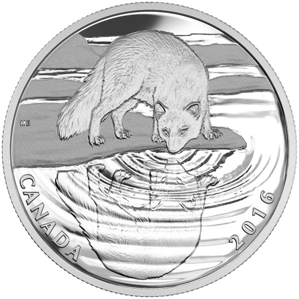 2016 $10 FINE SILVER COIN REFLECTIONS OF WILDLIFE - ARCTIC FOX