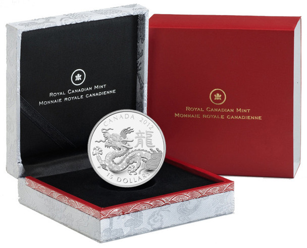 2012 $15 FINE SILVER CLASSIC CHINESE ZODIAC COIN - YEAR OF THE DRAGON