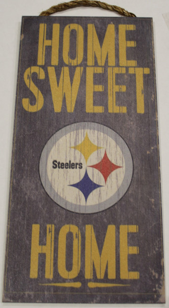 """PITTSBURGH STEELERS - OFFICIAL NFL HOME SWEET HOME 6 X 12"""" WOODEN SIGN"""