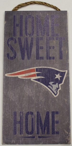 """NEW ENGLAND PATRIOTS - OFFICIAL NFL HOME SWEET HOME 6 X 12"""" WOODEN SIGN"""