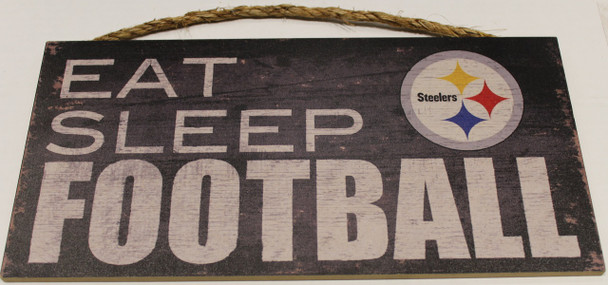 """PITTSBURGH STEELERS - OFFICIAL NFL EAT SLEEP FOOTBALL 6 X 12"""" WOODEN SIGN"""