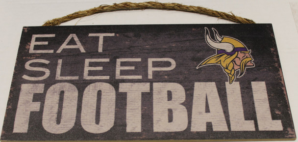 "MINNESOTA VIKINGS - OFFICIAL NFL EAT SLEEP FOOTBALL 6 X 12"" WOODEN SIGN"