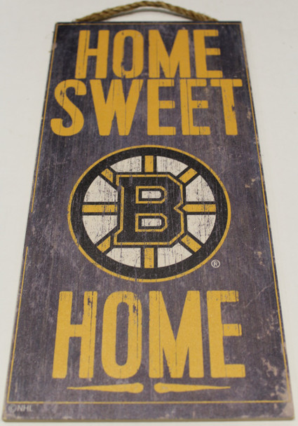 """BOSTON BRUINS OFFICIAL NHL HOME SWEET HOME 6 X 12"""" WOODEN SIGN"""