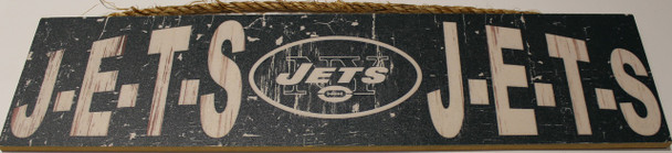 """NEW YORK JETS - OFFICIAL J-E-T-S J-E-T-S 4 X 16"""" WOODEN SIGN"""