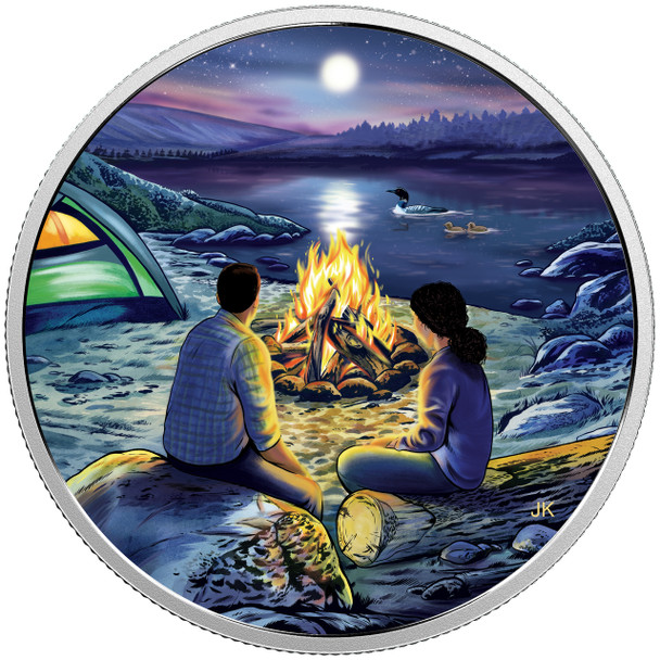 2017 $15 FINE SILVER COIN GREAT CANADIAN OUTDOORS: AROUND THE CAMPFIRE