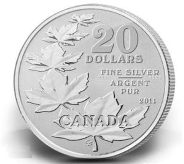 2011 $20 PURE SILVER COMMEMORATIVE COIN - MAPLE LEAVES - (1ST IN SERIES)